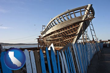 fishing boat construction - with California icon