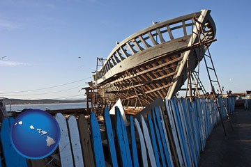 fishing boat construction - with Hawaii icon