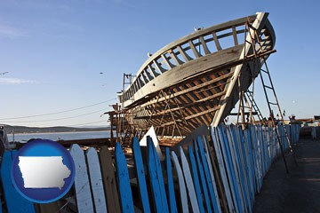 fishing boat construction - with Iowa icon