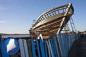fishing boat construction - with Maine icon