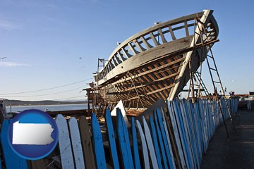 fishing boat construction - with Pennsylvania icon