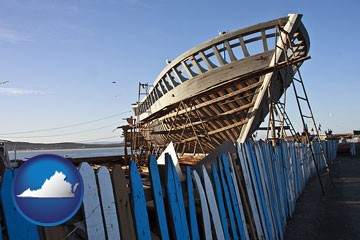 fishing boat construction - with Virginia icon