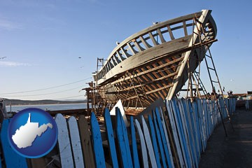 fishing boat construction - with West Virginia icon